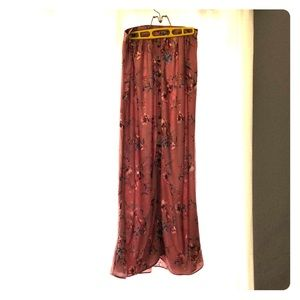 S rose w/ flowers button up maxi skirt